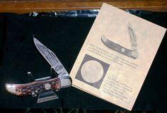 "Schrade Bone Stag Knife 123OT Pattern 4"" Cl. Circa 1980's W/Presentation Case @ ditwtexas.webstoreplace.com"