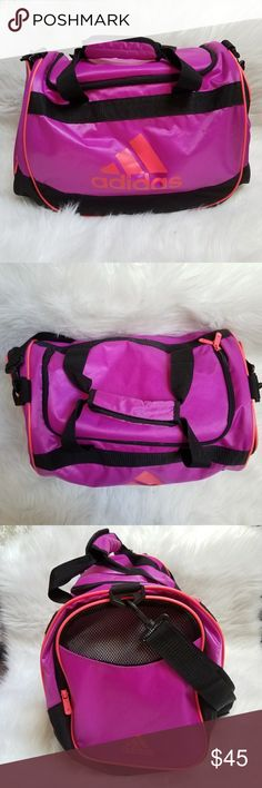 Adidas duffle bag Adidas purple duffle bag, pink lettering, zip top, adjustable long strap, 2 zipper pockets on ends and 1 small zipper pocket inside adidas Bags Travel Bags