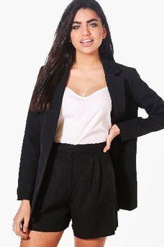 #boohoo Premium Tailored Paperbag Waist Shorts - black #Violet Premium Tailored Paperbag Waist Shorts - black