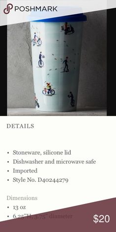NWT Anthropologie En Route Travel Mug - cyclist Description in picture #2. Anthropologie Other