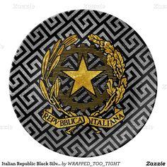 Italian Republic Black Silver Greek Key Dinner Plate