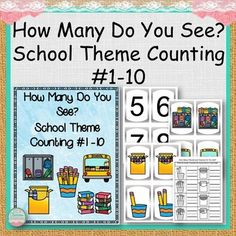 How Many Do You See? School Theme Counting #1 -10 is a product to help early learners to count from 1-10 using task cards to match number to objects and worksheets to write in the number of objects seen.