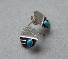 Sterling silver stud earrings with turquoise. Sterling silver