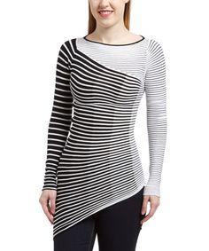 Love this Black & White Stripe Asymmetrical-Hem Top by Rondina on #zulily! #zulilyfinds