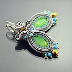 Green & Silver Soutache Earrings, Long Mint Earrings, Gray Long Earrings, Dangling Embroidery Earrings, Soutache Embroidery, Gold Earrings