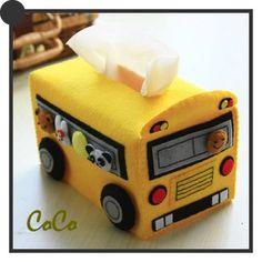 Felt school bus tissue box e-Pattern from ellediy. What a neat bus driver or teacher gift! Tissue Box Covers, Tissue Box Holder, Tissue Boxes, Felted Wool Crafts, Felt Crafts, Crafts For Girls, Diy For Girls, Tissue Box Crafts, Bus Crafts