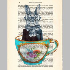 Rabbit in a cup ORIGINAL ARTWORK Hand Painted Mixed by Cocodeparis, $10.00