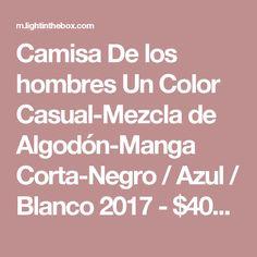 Camisa De los hombres Un Color Casual-Mezcla de Algodón-Manga Corta-Negro / Azul / Blanco 2017 - $40218 Shirts, Color, Red Black, Blue Nails, Gray, Full Sleeves, Linen Shirts, Plus Size, Colour