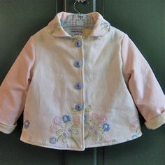 Size 5 Girl Jacket Coat Embroidered Pastel Floral by JackieSpicer