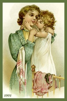 Quilt Block of rare 1901 Art Nouveau print of MOTHER AND CHILD by Frances Brundage printed on cotton. Mother and Child Set Ready to sew.  Single 4x6 block $4.95. Set of 4 blocks with pattern $17.95.