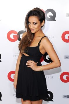 Shay Mitchell at the ESPN party wearing Versace.