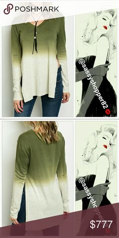 Coming soon! Comfy top Sassy cream & olive green sweater featuring sexy side slits. Pair with jeans, boots and a town hat! Or denim shorts and thigh high boots! Perfect color combo for the season!!  65%polyester 35%cotton Small Bust Length  Medium Bust Length Large Bust Length Tops Tees - Long Sleeve