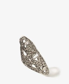 rhinestoned cutout ring- art deco -$5.80