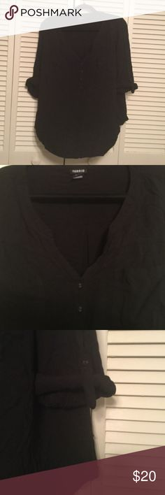 Black Shirt Nice dress top with rolled sleeves and v neck buttons. Made to fit. torrid Tops Blouses
