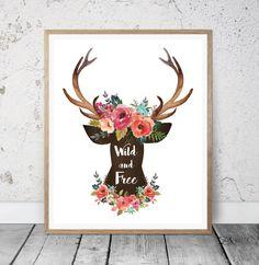Wild and Free Print Tribal Nursery Printable  Boho by MSdesignart