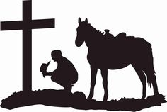 Cowboy at the cross praying, cowboy and horse kneeling at the cross, cross, cowboys by KMFCustomDesigns on Etsy Cross Silhouette, Silhouette Pictures, Western Crafts, Western Art, Western Quilts, Cowboy Horse, Cowboy Art, Cowboy Prayer, Horse Clip Art