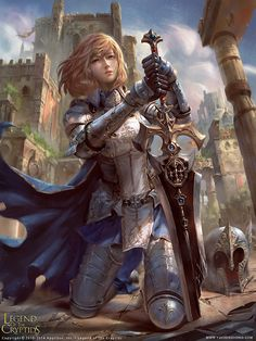 Vesa, Sword Salvager by yuchenghong female fighter knight paladin armor clothes clothing fashion player character npc | Create your own roleplaying game material w/ RPG Bard: www.rpgbard.com | Writing inspiration for Dungeons and Dragons DND D&D Pathfinder PFRPG Warhammer 40k Star Wars Shadowrun Call of Cthulhu Lord of the Rings LoTR + d20 fantasy science fiction scifi horror design | Not Trusty Sword art: click artwork for source