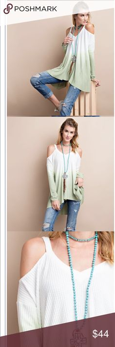 Chic Ombré cold shoulder Tunic Super soft and chic Ombré Thermal Tunic with Ombré washed effect. Sleeves have ruched detail along the edge . Swing loose effect which looks great with leggings and denim . Nwot . Runs big . Small 2-4 medium 6-8 large 10-12 . Tops
