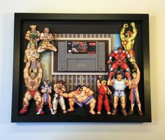 Street Fighter Cartridge Holder Shadow Box for Super Nintendo with Frame Street Fighter II - Games 8 By 10 Frames, Paper Toys, Paper Crafts, Computer Gaming Room, Arcade Room, Street Fighter Characters, Gamer Gifts, Super Nintendo, Shadow Box