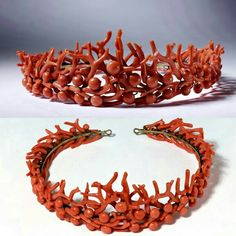 """Coral and Gilt Metal tiara. Philips Brothers, London. c1860-1870. Still in its original leather case, this coral tiara has its original comes from """"PHILLIPS. 23, COCKSPVR STREET LONDON,"""" as embroidered into the silk lining. Phillips Brothers, largely managed by one Robert Phillips, was the leading supplier of coral objects in London, in addition to their status as celebrated and jewelers. This and all related images courtesy of The Victoria & Albert Museum."""