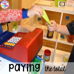 How to set it up & add literacy and math opportunities to the grocery store in your preschool, pre-k, & kindergarten classroom. Kindergarten Worksheets, Worksheets For Kids, Kindergarten Classroom, Preschool Math, Preschool Ideas, Classroom Decor, Art Lessons Elementary, Elementary Schools, Pretend Grocery Store