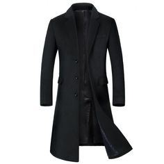 ONTBYB Mens Stand Collar Wool Blend Hoodie Trenchcoat Coats Toggle Pea Coat
