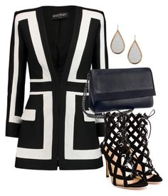 """""""Untitled #84"""" by morellikiara on Polyvore featuring Balmain, H&M, Rebecca White and Gianvito Rossi"""