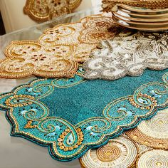 """Beaded Scallop 36"""" Table Runner Teal"""