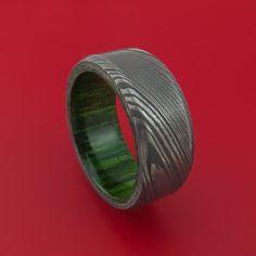 Damascus Steel Ring with Jade Wood Hardwood Interior Sleeve Custom Made