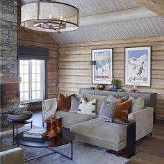 "This is just an example of the ""feel"" I want for the great room. Mountain house yet fun and approachable. Rustic House, House Interior, Cabin Interiors, Modern Cabin, Cabin Decor, Brown Sofa Living Room, Cabin Living, Modern Log Cabins, Mountain House Decor"