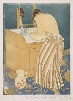 "Mary Cassatt (American, 1844-1926). Woman Bathing (La Toilette), 1890-91. Drypoint and aquatint, printed in color from three plates; fourth state of four (Mathews & Shapiro). The Metropolitan Museum of Art, New York. Gift of Paul J. Sachs, 1916 (16.2.2) | This work is on view in gallery 690 from April 19, 2016 to April 25, 2016 as part of the Department of Drawings and Prints ""Work of the Week."" #MetonPaper100"