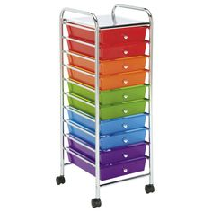 Empower your storytelling with everything at your fingertips. Whether it is kids' supplies or your scrapbook materials, this Recollections™ 10 Drawer Rolling Organizer will be sure to keep your crafting area organized. Drawers remove easily to take with you to your project area. This cart is mounted on four swivel casters, which makes moving the entire cart from room to room easy.