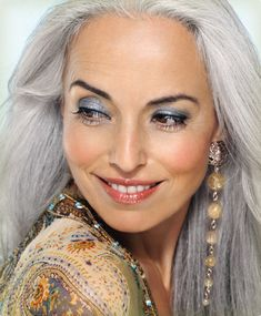 Another silver-haired beauty!  Styled in warm tones to enhance a more earthy or hippy personality. ;-)    Learn more about makeup for mature women on the Lillybeth facebook page (click photo)