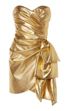 The Unexpected Dress Trend Fashion Girls Will Wear This NYE Dundas Draped Gold Leather Dress 80s Fashion, Girl Fashion, Fashion Dresses, Fashion Trends, Latex Fashion, Club Dresses, Casual Dresses, Moda Retro, New Years Eve Dresses