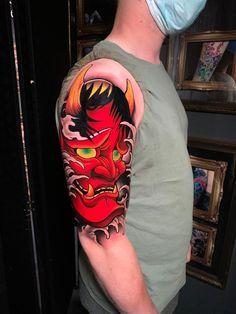 Artist : Luis smith 🌍 www.holytrinitytattoos.co.uk 📧 holytrinitytattoos@gmail.com 📱 07963606034 Hannya Mask Tattoo, Traditional Japanese Tattoos, Last Supper, Tattoo Studio, Manchester Tattoo, Skull, Artist, Artists, Skulls