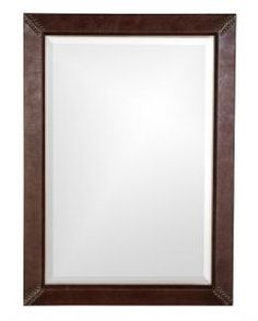 Quest Rectangular Brown Faux Leather with Silver Leaf Mirror