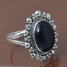 BLUE GOLD STONE 925 STERLING SILVER RING JEWELRY 7.10g DJR6976 SIZE 9 #Handmade #Ring