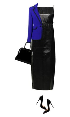"""""""Leather Dress"""" by marion-fashionista-diva-miller ❤ liked on Polyvore featuring Moka London, Christian Louboutin, Diophy, Osman, Leather, contestentry and leatherdress"""