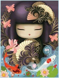 """DIY Diamond Painting Full Square/Round Drill """"Cartoon girl"""" Embroidery Cross Stitch gift Home Oriental, Diy And Crafts, Arts And Crafts, Paper Crafts, Asian Crafts, Asian Doll, Diamond Art, Kokeshi Dolls, Pebble Painting"""