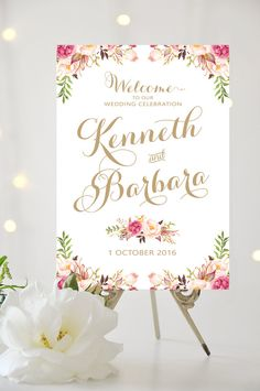 Wedding Welcome Sign | Various Sizes | Vintage | Antique Gold | Romantic Blooms | Personalized | I Create and You Print #weddingsigns #bridal #welcomesign