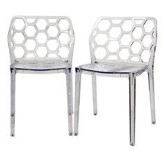 Baxton Studio Honeycomb Clear Acrylic Modern Dining Chair (Set of 2), Black (Plastic)