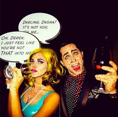 Derek Blasberg dressed up as Lichtenstein pop art for Halloween.