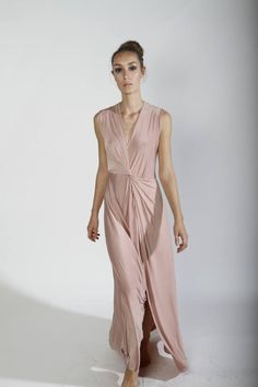 comes in white also // Maxi Evening Dress Pink Cocktail Dress bridesmaid Long by CIPORKIN, $130.00