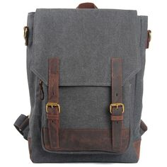 Wow! Leisure Large Capacity School Rucksack Retro Cowhide Leather Splicing Canvas Travel Backpack only $54.99 from ByGoods.com! I like it so much!!