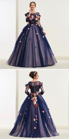 Bateau Ball Gown Flowers Long Sleeves Quinceanera Dress 2019 Big Dresses, Ball Gown Dresses, Dress Outfits, Prom Dresses, Wedding Dresses, Long Sleeve Quinceanera Dresses, Fashion Beauty, Women's Fashion, Fashion Design