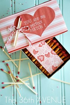 Valentines Box of Edible Matches Tutorial and Free Printable by the36thavenue.com