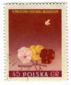 "Poland Postage Stamp: 1955 Festival  - Poland Postage Stamp: 1955 Festival 45GR      ""Peace"" and Warsaw Mermaid     part of the 5th World Festival of Youth series."