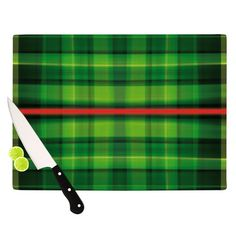 """East Urban Home Tartan by Matthias Hennig Cutting Board Size: 0.5"""" H x 15.75"""" W x 11.5"""" D"""