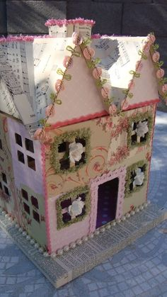 spring time house made of paper mache/Hobby Lobby