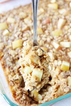 Baked Peanut Butter Apple Oatmeal Recipe on twopeasandtheirpod.com My favorite snack in oatmeal form! This easy baked oatmeal is delicious and nutritious!